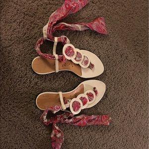 Tibi lace up sandals leather sole white bandana